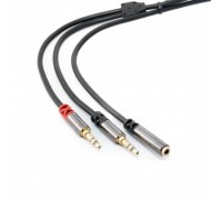 Кабель Extradigital Audio/Mic 3.5mm разветвитель, 1.5m, 30 AWG, Metal